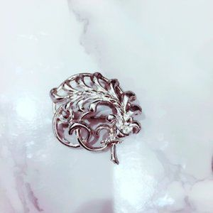 Silver Tone Fern Pin Brooch Filigree